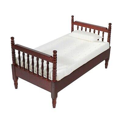 Dark Brown Wooden Miniature Dollhouse Bed with Mattress /& Pillow Dolls Furniture