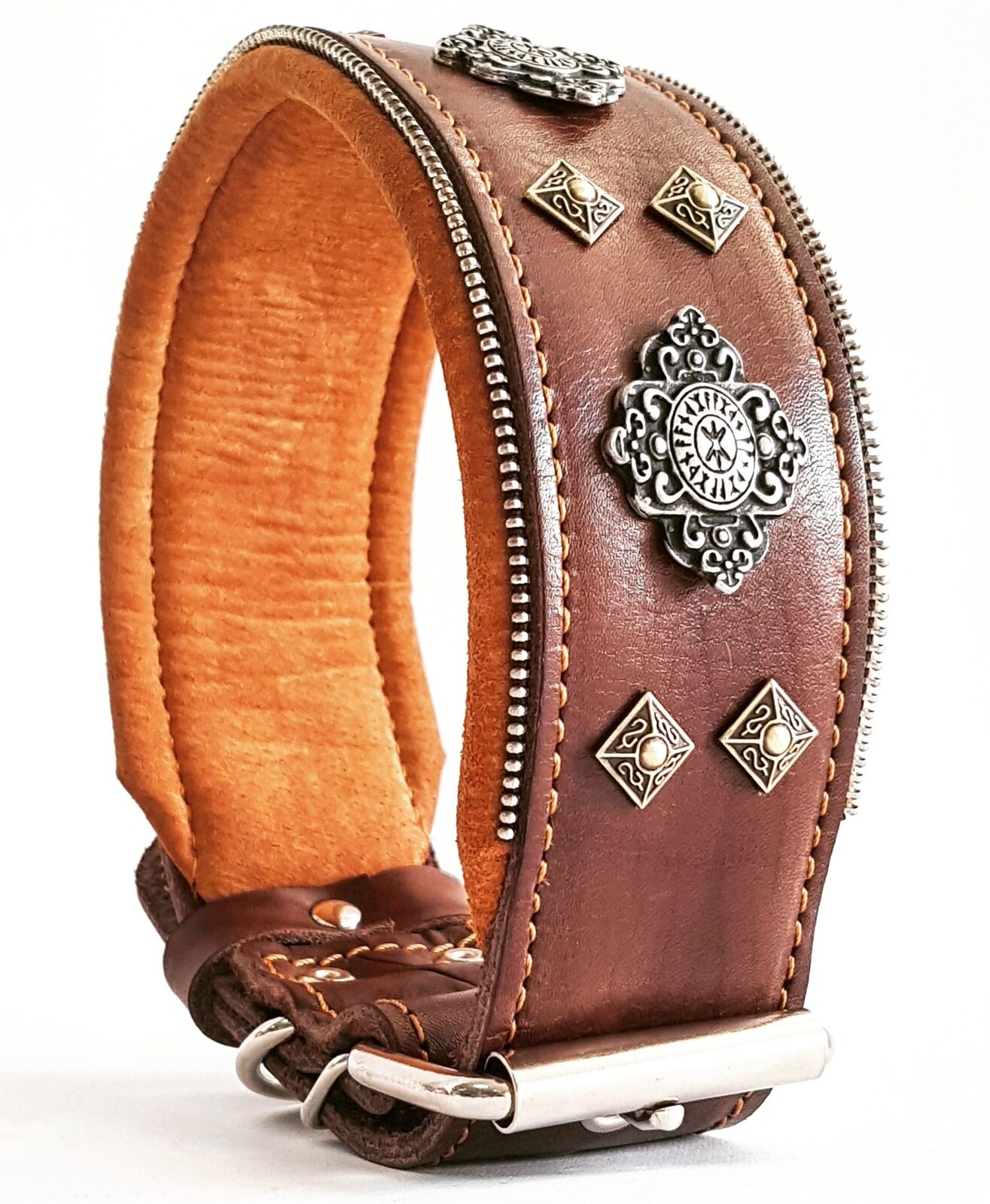 Bestia Aztec big dog leather collar with rivet decoration. padded. padded. padded. Hand made c491d7