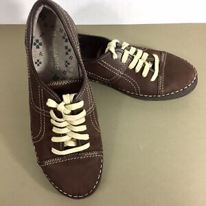 Naturalizer-Jolie-lace-up-sneakers-7-5M-womens-shoes-brown-leather-upper-euc