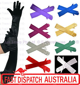 Evening-Formal-Wedding-Stretch-Satin-Gloves-Wrist-Below-Over-Elbow-Shoulder-Lth