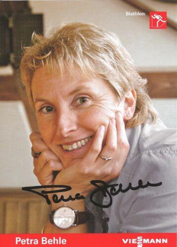 Silber 92+94 handsigniert PO* Autogramm Petra Behle Biathlon Olympiasiegerin 98