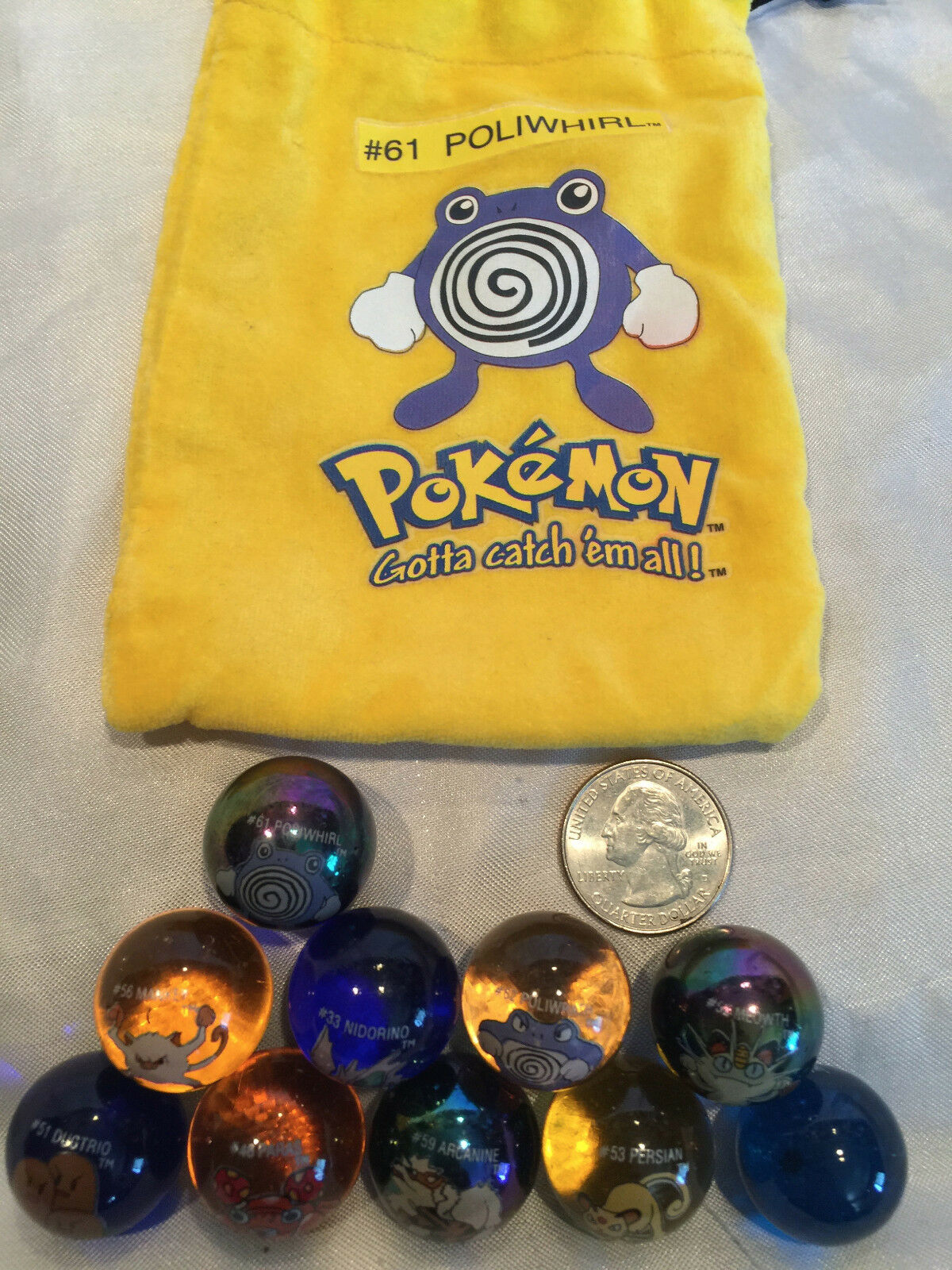 Mixed Lot Of 10 Collectible Vintage  Pokemon Glass Shooter Marbles Bag  61