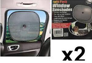 PAIR OF CAR SUNSHADES, UV PROTECTION, KIDS, BABY, PETS, SHADE, 2 PACK, BLACK