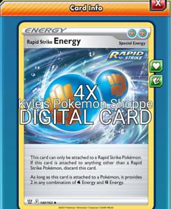 Rapid Strike Energy 4X Pokemon TCG Online PTCGO 140/163 DIGITAL CARD SENT FAST