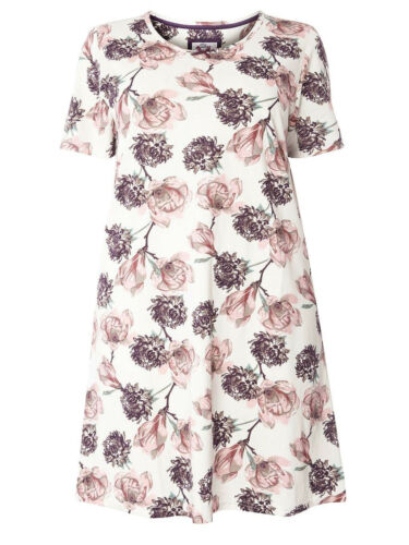 EVANS LADIES IVORY ROSE BLOOM COTTON JERSEY SHORT NIGHTDRESS NEW ref 528