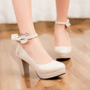 18-Mary-Jane-Lady-Bowties-Round-Toe-Sweet-Ankle-Strap-Block-Heels-Platform-Shoes