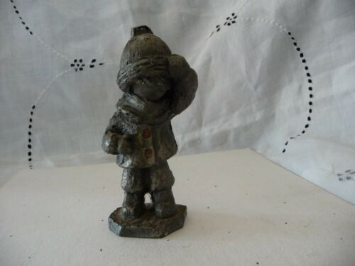 #214 vtg Pewter figurine HUDSON 4 14'' tall Winter