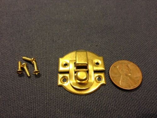 GOLD mini dollhouse Antique wood latch Sets Box Case Lock hinge small c6