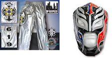 WWE Rey Mysterio Kid Size Silver Pants & Mask Blue Black Silver Halloween Costum