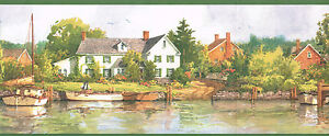 Details About Country Boatsfishing Village On The Lake Beautiful Scene Wallpaper Border Wall