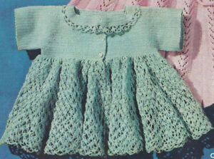 Vintage Crochet Pattern To Make Thread Baby Sacque Sweater