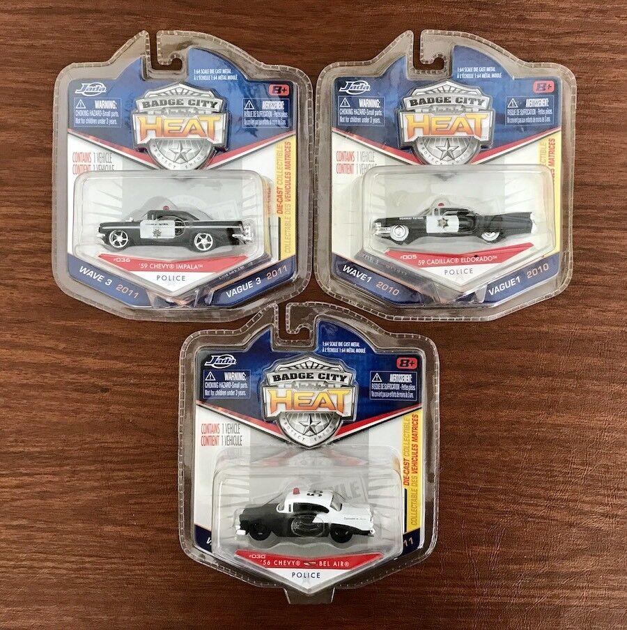 Jada Heat Highway Patrol Police Police Police Chevy Impala Bel Air Cadillac Diecast Car 1 64 828461