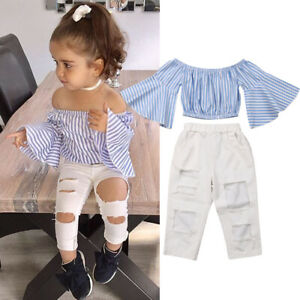 US Toddler Newborn Baby Girl Off Shoulder Tops Romper Pants Outfits Clothes Set