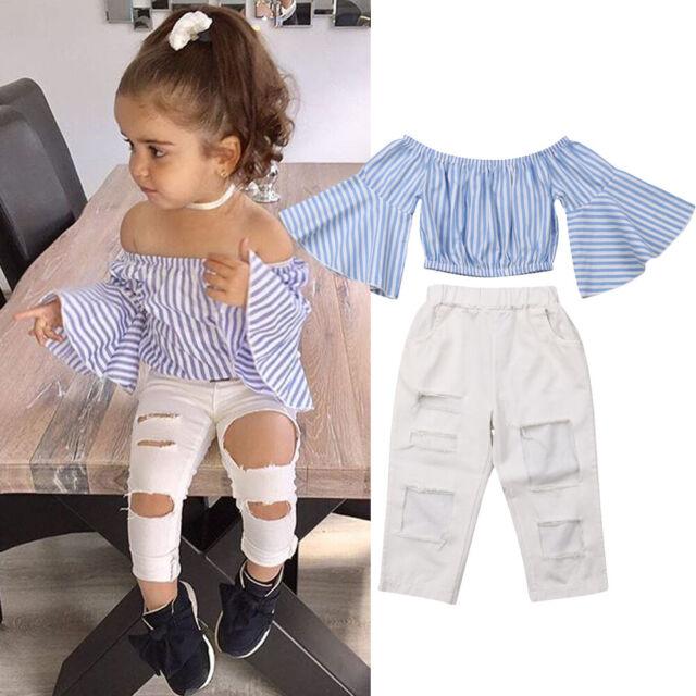 Toddler Kids Girls Off Shoulder T-Shirt Denim Shorts Pants Set Clothes Outfits