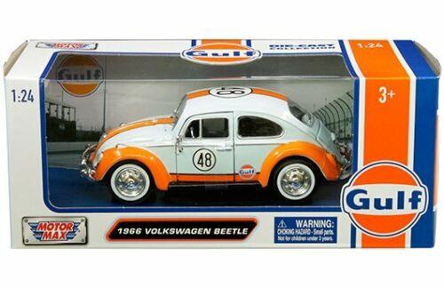 Motormax 1:24 W//B Gulf 1966 Volkswagen Beetle with Gulf Livery Diecast Car 79655