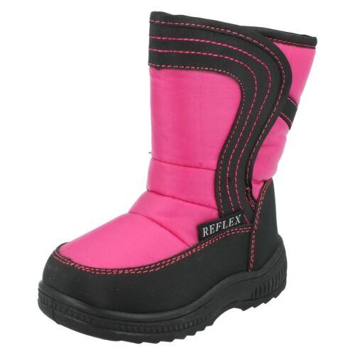 Girls Reflex H4072 Fuchsia Pink /& Black Warm Lined Snow Boots
