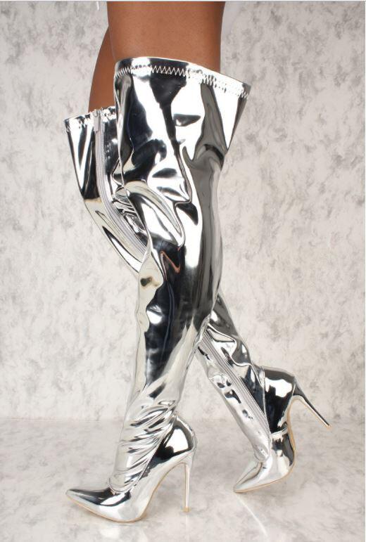 Espejo Metálico Mujer encima Puntera Puntiaguda muslo Tacón alto encima Mujer de la rodilla botas De Plata 84600f