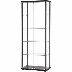 Gl Curio Display Cabinet Black Frame Shelves Ebay
