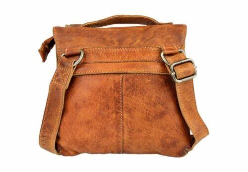 Damen Handtasche Waschleder Ledertasche Schultertasche Vintage Cognac Bag NEU