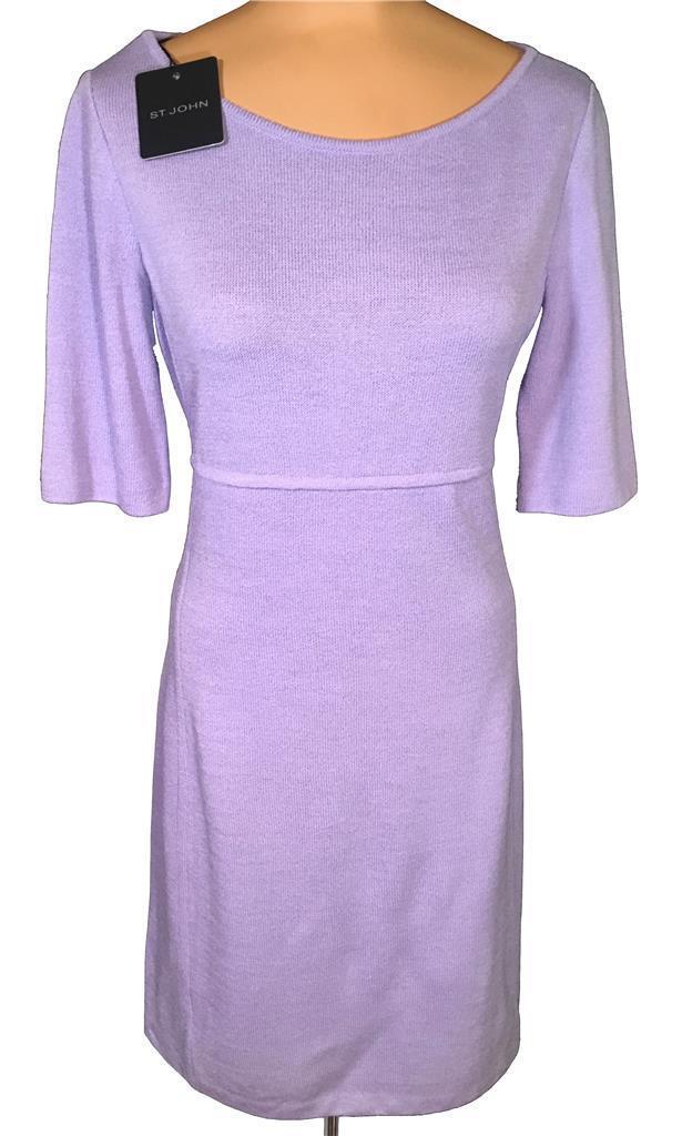 NWT ST. JOHN Knits Cornflower Cornflower Cornflower Purple Santana Knit Sheath Dress sz 14  1165 e2d6b0