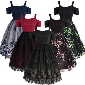 4953cms-mujer-encaje-vestido-Retro-Swing-Pinup-ama-de-Casa-Fiesta-Noche-vintage