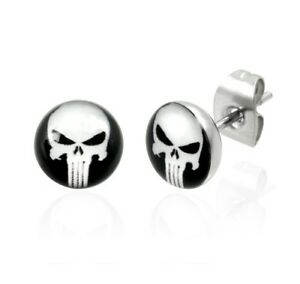 The-Punisher-Black-and-White-Skull-Head-Stainless-Steel-Fashion-Stud-Earrings
