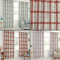 CHECK THERMAL BLACKOUT RING TOP PAIR EYELET READY MADE CURTAINS RED CREAM BLUE