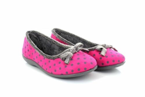 Sleepers LOUISE Polka Dot Bow Memory Foam Indoor Slipper Pink Micro Fibre 64,