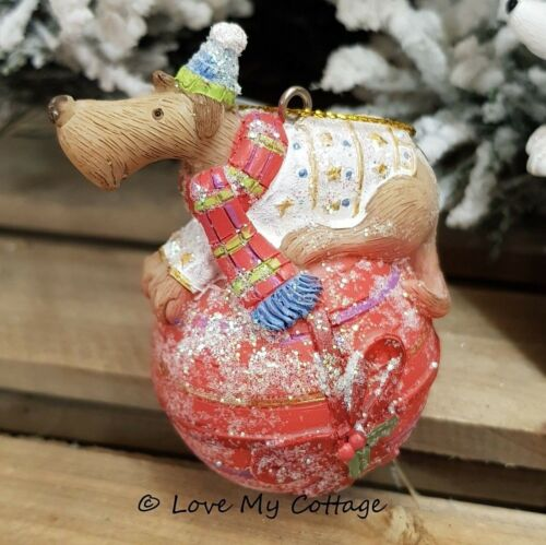 Gisela Graham CHRISTMAS TREE DECORATION Cute DOGS DOG IN JUMPERS Resin Bauble