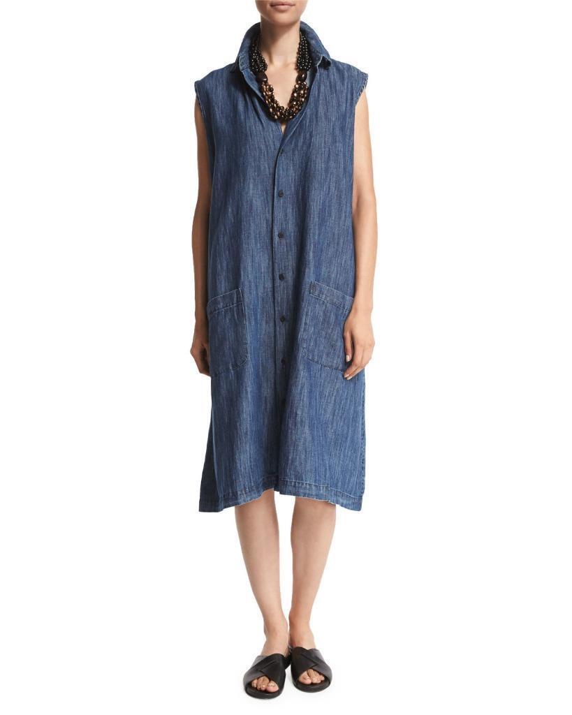 NWT NWT NWT Eskandar DENIM Classic Collar Sleeveless 42  Long A-Line Shirt Dress Size 3 afd8f4