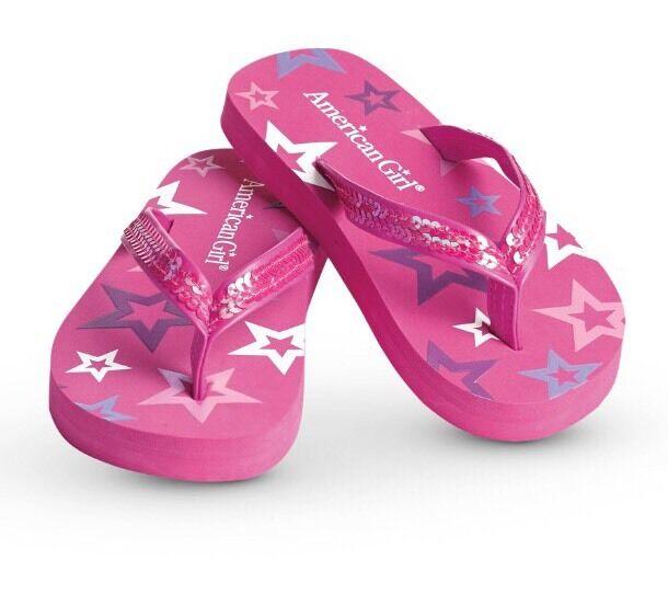 "Hot Pink 3 Pair Summer Sequins Flip Flops Purple Fits 18/"" American Gi White"