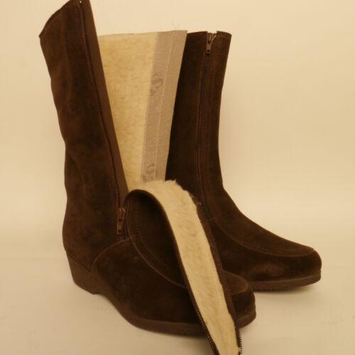 Draper Of Glastonbury High Brown Suede Boots Sheepskin Lined Bargain £59.99
