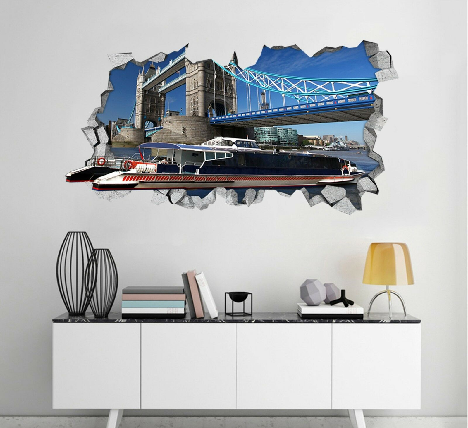 3D Ponte Di Londra 301 Parete Murales Adesivi Decal Sfondamento AJ WALLPAPER IT