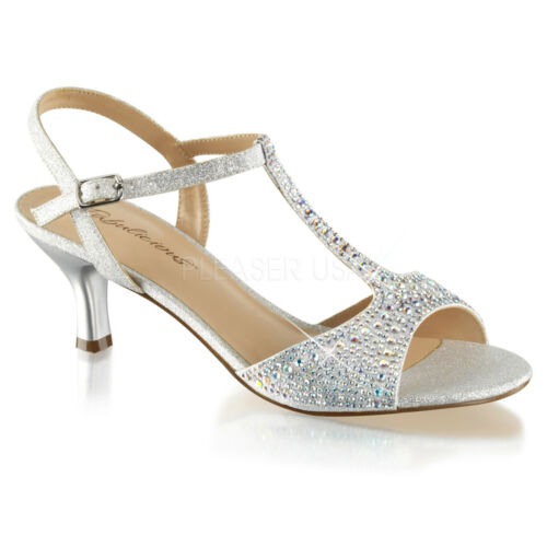 """2/"""" Silver Glitter Crystals 20s Vintage Wedding Gatsby Party Shoes size 8 9 10 11"""