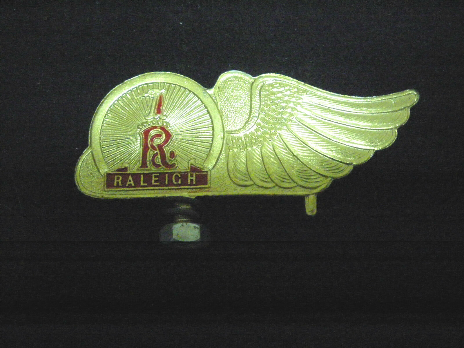 Vintage RALEIGH  Bicycle front mudguard Emblem Badge Bike gold NOS 1950s