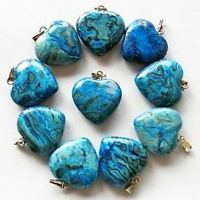 Blue Crazy Lace Agate heart necklace Pendant healing reiki meditation soothing
