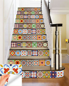 Details About Stairs Mexican Tile Decal Set Of 24 Tiles Kitchen Mural Tile Stickers Diy Ab2