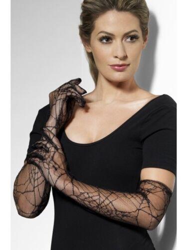 Handschuhe Netzhandschuhe  Spinnennetz Spinne Gloves Spider schwarz lang