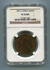 South-Africa-ZAR-NGC-Graded-1892-Kruger-Penny-VF-25-BN-Coin