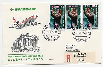 1976 Nations Unies Swissair Volo Geneve-athenes C/1608 Uitstekend In Kusseneffect