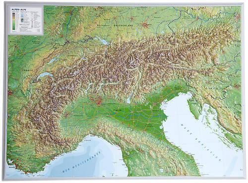 echte 3D Reliefkarte Alpen Querformat 77x57cm #100552