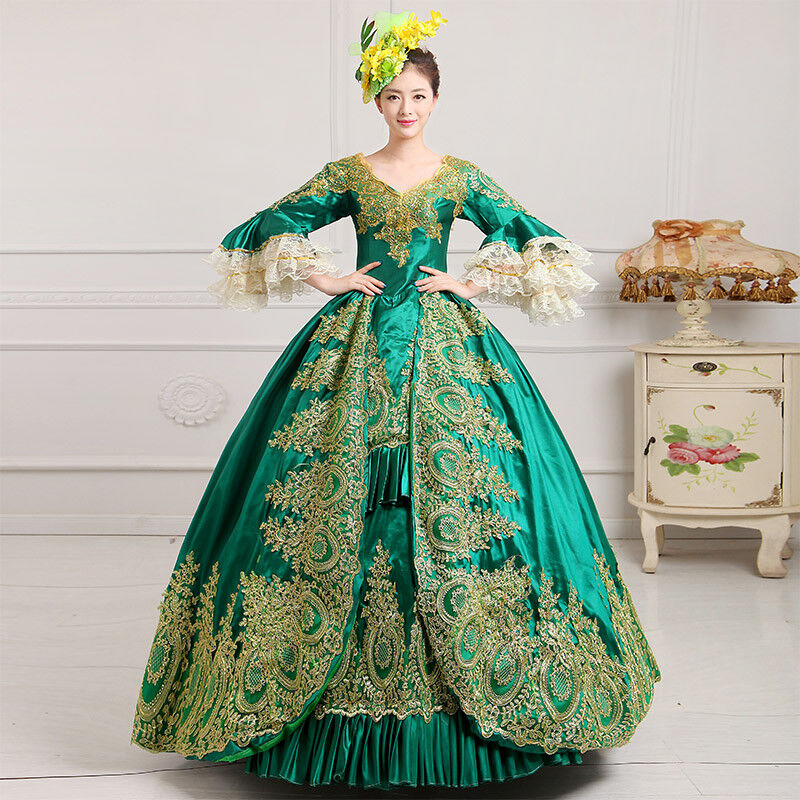 Vintage European Noble Traditional Evening Gown Elegant Lady Court Stage Costume