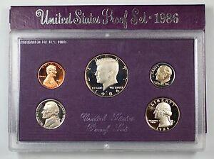 1986-US-Mint-Proof-Set-5-Gem-Coins-w-Box-amp-COA