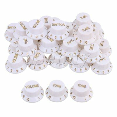 White with Gold Lettering Top Hat Style Guitar Volume Tone Knobs