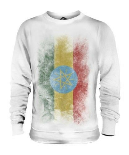 ETHIOPA FADED FLAG UNISEX SWEATER TOP ITYOP'IA FOOTBALL ETHIOPIAN GIFT SHIRT