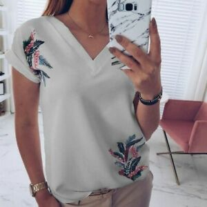 Blouse-T-Shirt-Casual-Elegant-Short-Sleeve-Pullover-Top-New-Fashion-Tops-V-Neck
