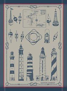 Garnier-Thiebaut-Dish-Towel-French-Phares-Lighthouse-Beacon-Buoy-Nautical-New