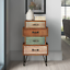 vintage accent storage chest 4 drawer cabinet solid wood neutral colors retro