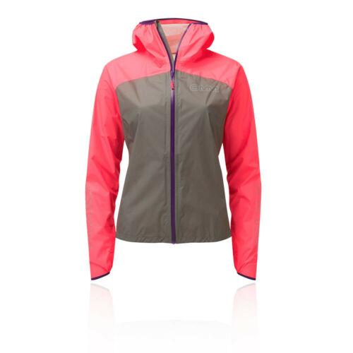 OMM Womens Halo Jacket Top Grey Pink Sports Running Full Zip Hooded Waterproof