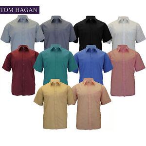 New-Mens-Collared-BIG-Tall-Casual-Plain-Short-Sleeve-Dress-SHIRT-SHIRTS-FORMAL